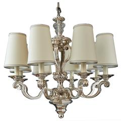 Eight Branch Neoclassical Silvered Bronze Chandelier, France 1950s