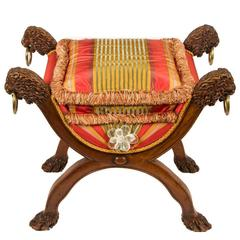 Regency Era Curule Bench with Carved Lion's Heads