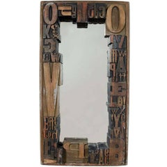 Typography Woodblock Framed Mirror by Jo Mead