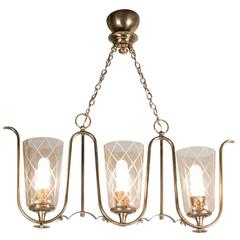 Etched Glass and Bronze Chandelier, French, 1940s