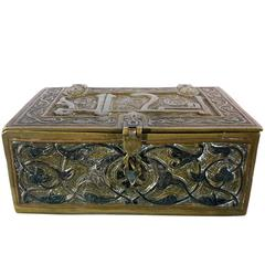 Silver Inlaid Islamis Brass Koran Box, Damascus, Syria, circa 1900