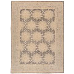21st Cent. Contemporary Gray, Beige Pakistani Zeigler Rug