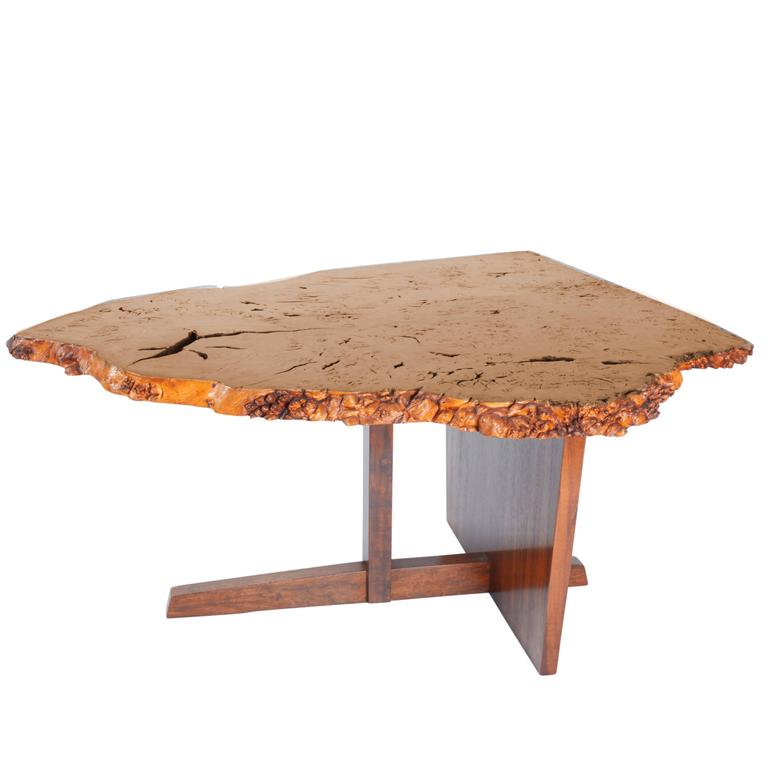 George Nakashima English Oak Burl and Laurel Minguren II Table, 1977