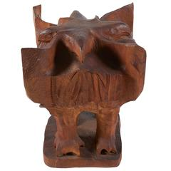 Leonard Baskin Carved Wood Four-Sided Eagle Sculpture, Dated and Signed