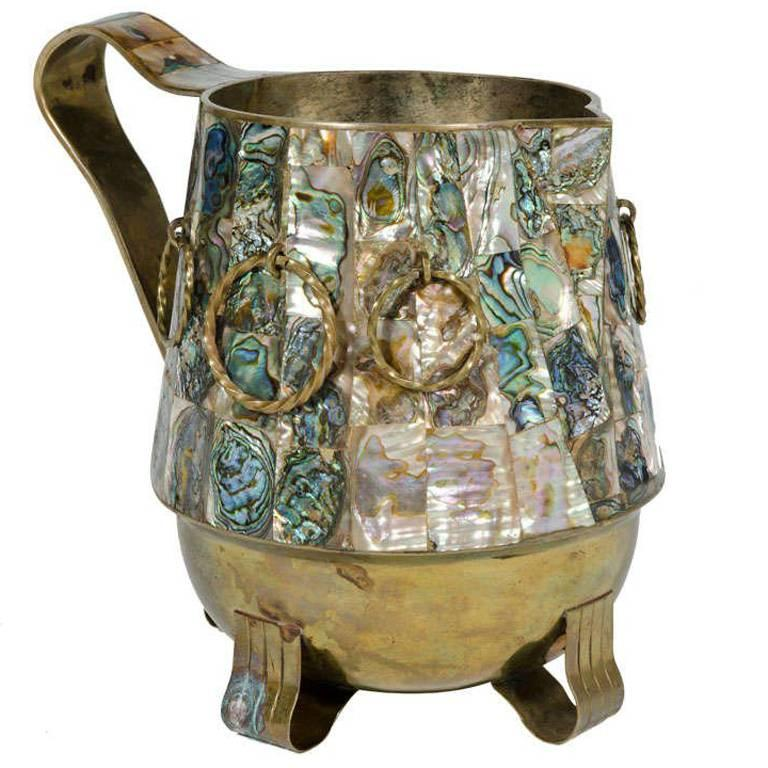 Abalone Shell and Brass Water Pitcher by Salvador Teran For Sale
