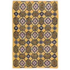 Vintage 1950s Yellow, Blue Chinese Carpet