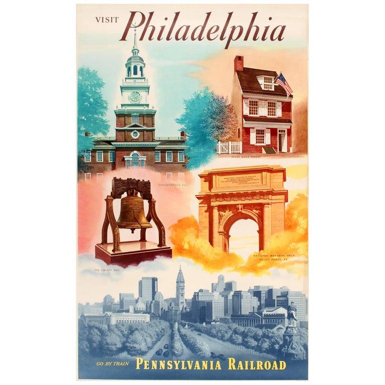 Original Vintage Pennsylvania Railroad Poster Visit Philadelphia Go by Train For Sale