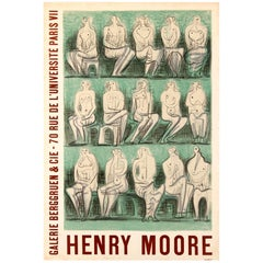 Original Vintage Galerie Berggruen Poster for a Henry Moore Exhibition in Paris