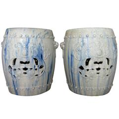 Pair of Chinese Ceramic Garden Seats with Blue Tye-Dye Glaze