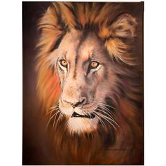 Magnificent African Lion Oil on Canvas Portrait by Elga Rabe