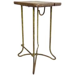 French Oak Top Bar Stool with Yellow Painted Iron Base