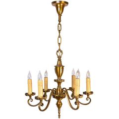 Cast Brass Gothic Revival Six-Arm Chandelier with Crest, circa 1920
