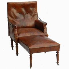 French Leather Club Chair Reclining Armchair Recliner, circa 1920