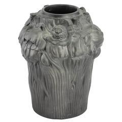 Early 20th Century Art Nouveau Black Terracotta Vase by Hjorth Fabrik