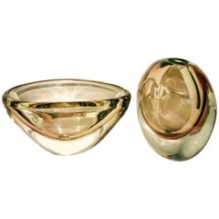 1970s Formia Italian Minimalism Set of Smoked Pink Murano Glass Bowl and Vase