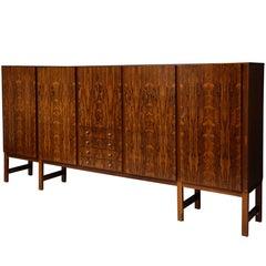 Monumental Danish Rosewood Sideboard Highboard Cabinet Midcentury, 1960s