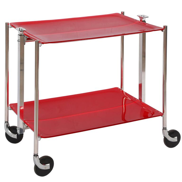 SALE! SALE! SALE !Red Acrylic collepsable Bar Cart ,France,reduced  For Sale