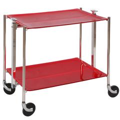 Red Acrylic Foldable Bar Cart with Silver Hardware, France, Contemporary