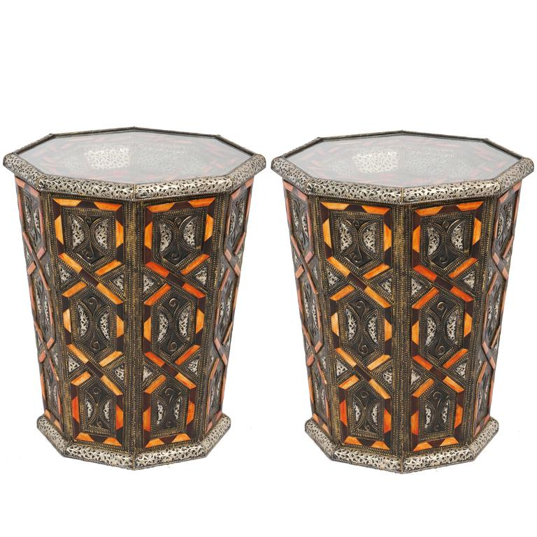 2/pr Moroccan Metal Side Table Inlaid with Orange or white Faux Bone Decoration