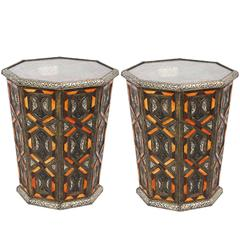 Moroccan Metal Side Table Inlaid with Orange Colored Faux Bone Decoration