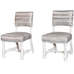 Pair of English Barley Twist Lacquered Chairs