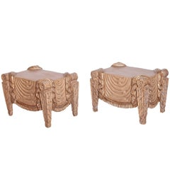 Pair of Carved Beech Wood Stools