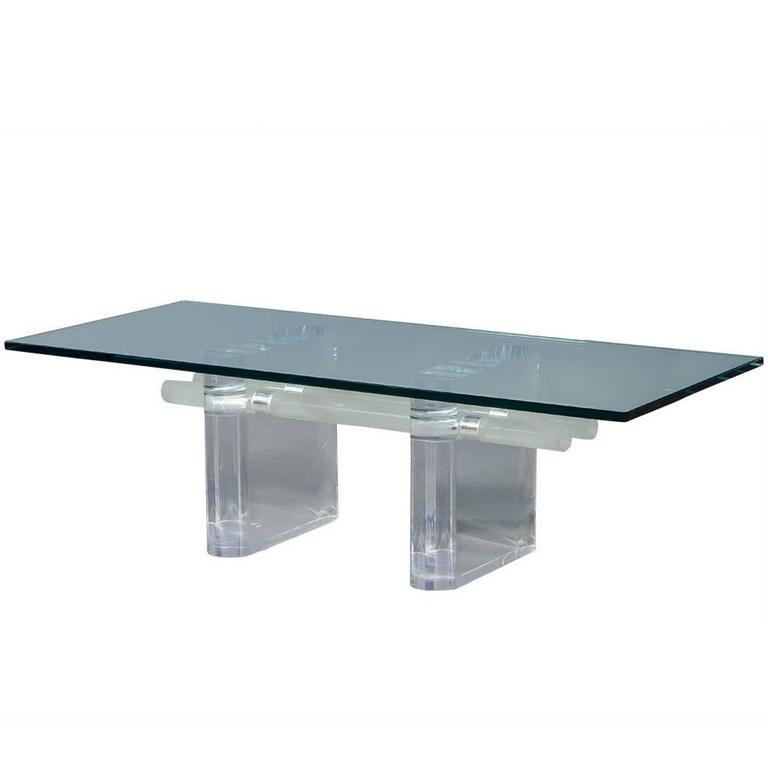 Mid century modern abstract lucite base and glass top for Contemporary glass cocktail tables