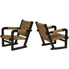 Francis Jourdain Attributed Oak Woven Lounge Chairs, French Deco, 1930s