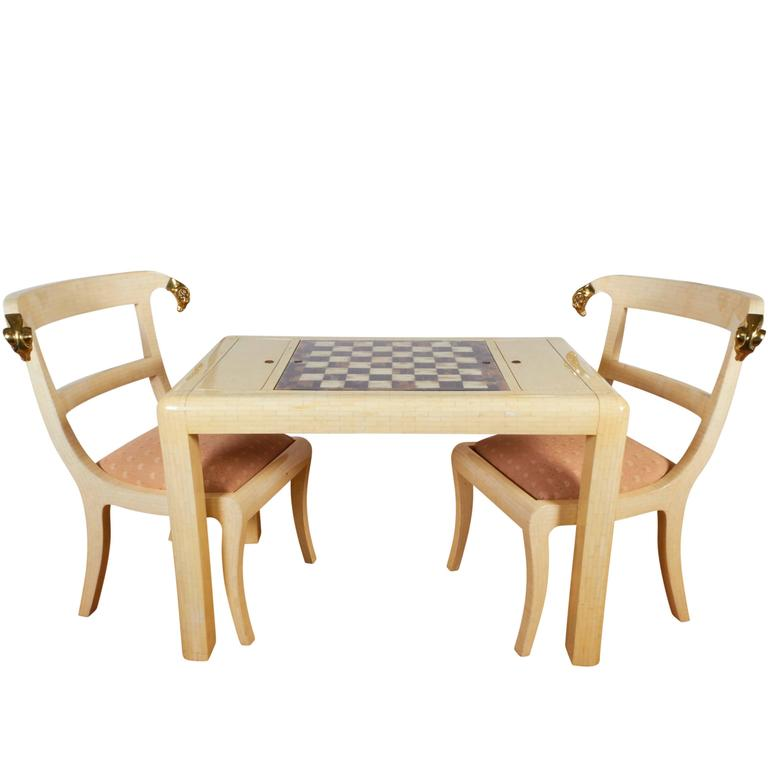 Lacquered Bone Game Table with Anglo-Raj Style Chairs