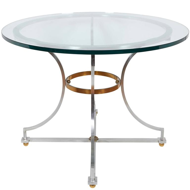 Maison Jansen Style Round Glass Top Table on Brushed Steel and Brass Base