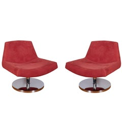 Pair of Modern Swivel Slipper Chairs in Red Suede