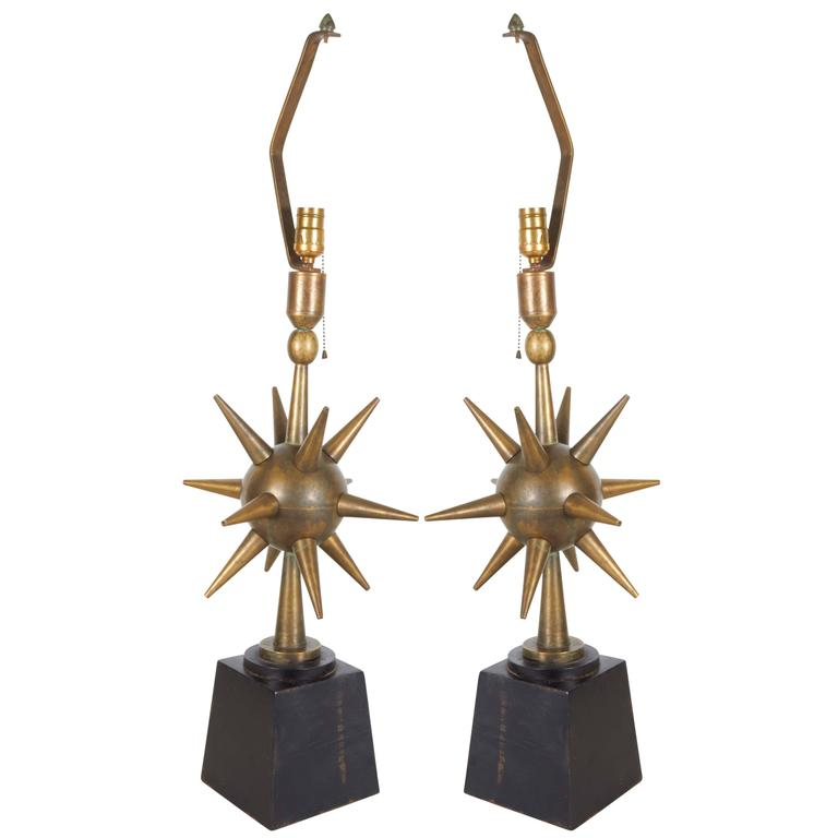 Pair of Arturo Pani Style Atomic Sputnik Bronze Lamps