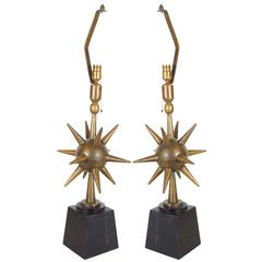 Pair of Arturo Pani Atomic Sputnik Bronze Lamps