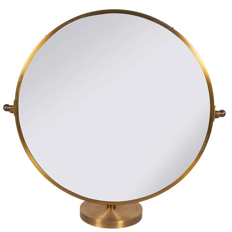1960s round table mirror on brass stand at 1stdibs. Black Bedroom Furniture Sets. Home Design Ideas