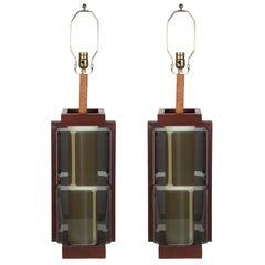 Pair of Smoked Plexiglass Illuminated Lamps with Walnut Frames