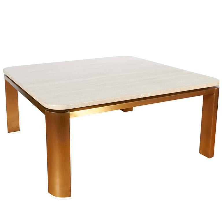 Leon Rosen Floating Travertine Top Coffee Table in Brass for Pace
