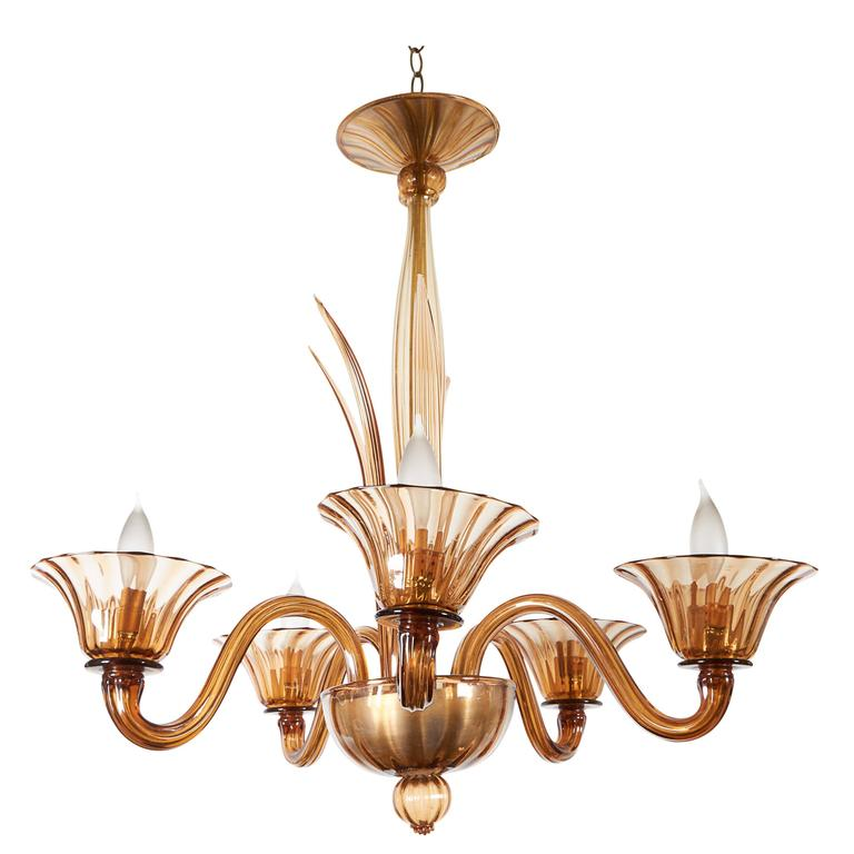 Mid-Century Chandelier in Amber Murano Glass
