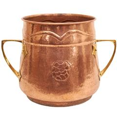 English Arts & Crafts Handled Log Holder and Bucket in Hammered Copper