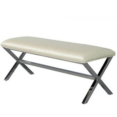 Elegant Contemporary Metal X-Base Bed Bench