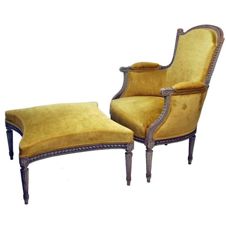 Merveilleux French Louis XVI Style Bergere Chair With Ottoman, Circa 1920s For Sale