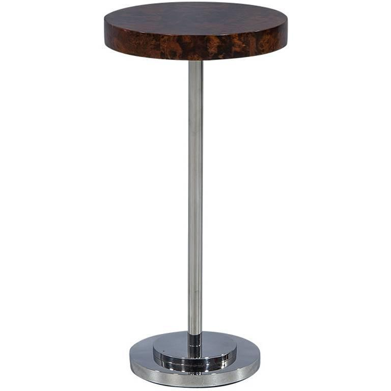 Round Compact Walnut and Metal Accent Table