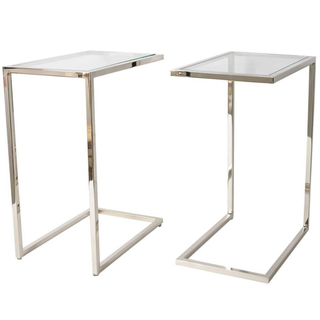 Pair of milo baughman thin line polished chrome and for Glass end tables