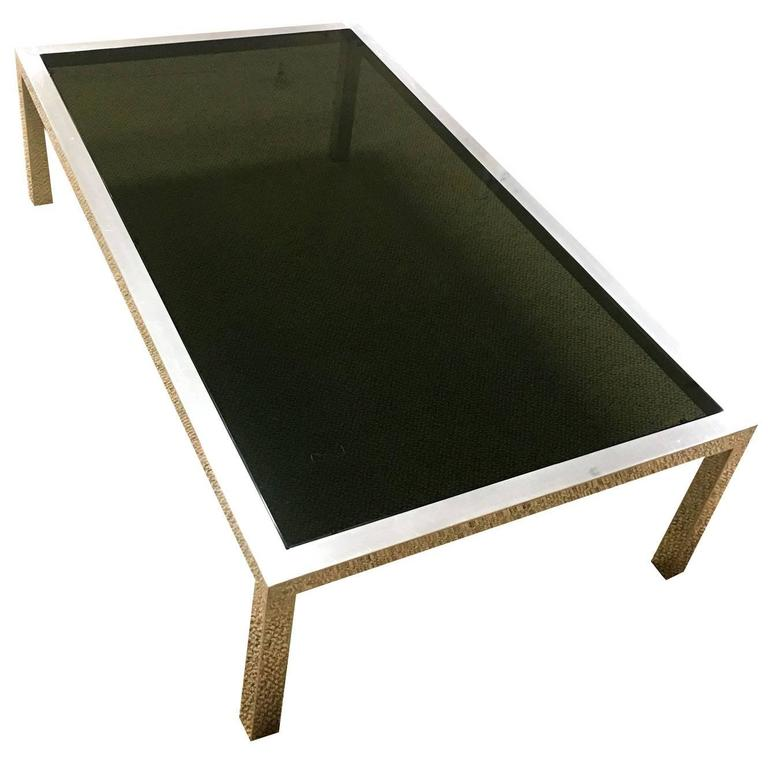 Mid Century Modern Aluminium And Smoked Glass Coffee Table