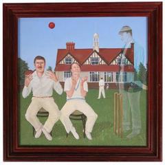 "James M. Grainger Oil on Board Titled ""At The Cricket Club"""