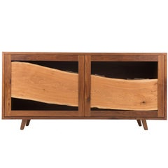Sweep Cabinet in Black Walnut and Live Edged Butternut with Hand-Turned Legs