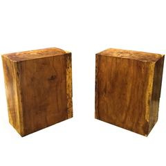 Pair of Solid, Mid-Century French Walnut Rectangular Stands