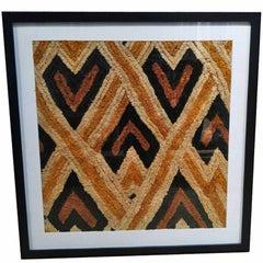 Kuba Cloth in Woven Raffia from Congo, Framed