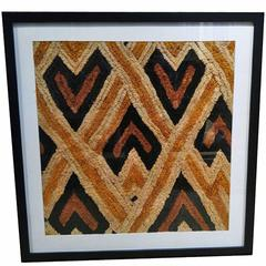 Kuba Cloth in Woven Raffia from Congo, Framed