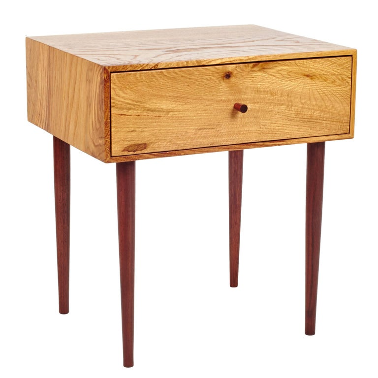 End Table in Chestnut Oak and Hand-Turned Walnut with a Single Drawer For Sale