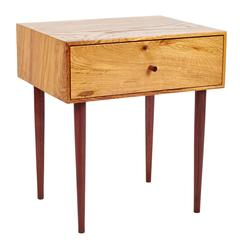 Chestnut Oak and Walnut Two Sisters Single Drawer End Table